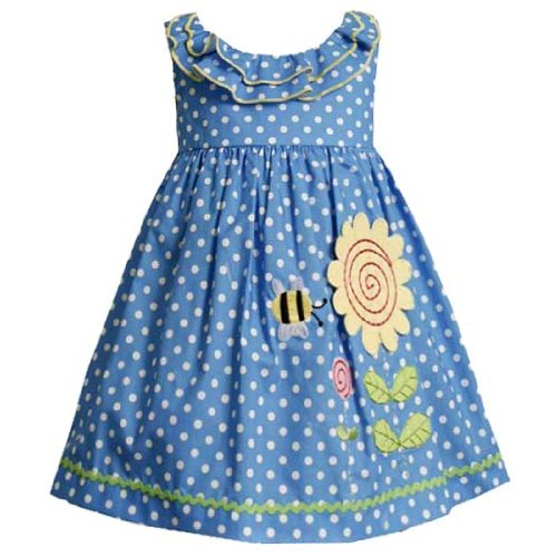 Size-3T,BNJ-9247M BLUE WHITE POLKA DOT 'Bumble Bee Sunflower' APPLIQUE Spring Summer Baby Girl Party Dress,M29247 Bonnie Jean TODDLERS