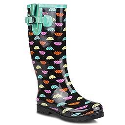 Twisted Women\'s DRIZZY Tall Umbrella Print Rubber Rain Boots - BLACK, Size 8