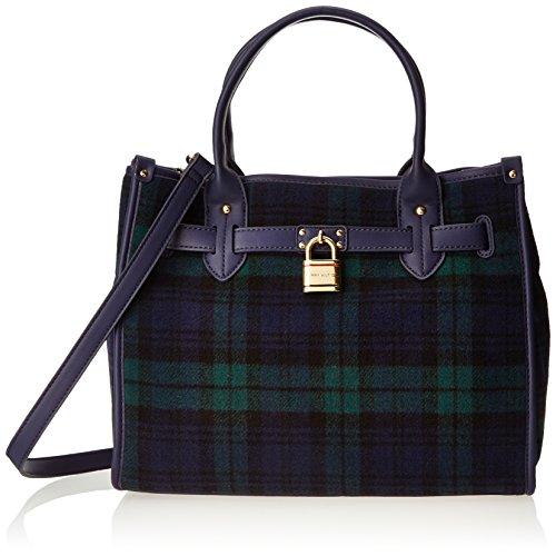 Tommy Hilfiger Heritage Lock Plaid Wool 6925576 Shoulder Bag,Navy/Green,One Size