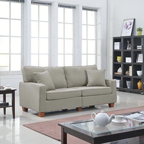 Casa Andrea Milano Modern 73-Inch Linen Fabric Love Seat, Beige