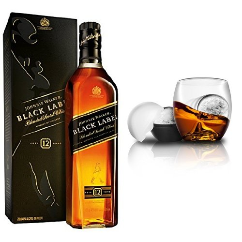 discount duty free Johnnie Walker Black Label Blended Scotch Whisky and On the Rocks Tumbler & Ice Ball Mould