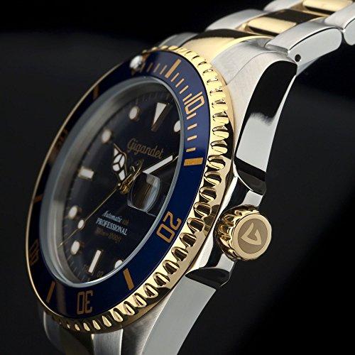 Gigandet Automatik Herren-Armbanduhr Sea Ground Taucheruhr Uhr Datum Analog Edelstahlarmband Blau Gold G2-001 6