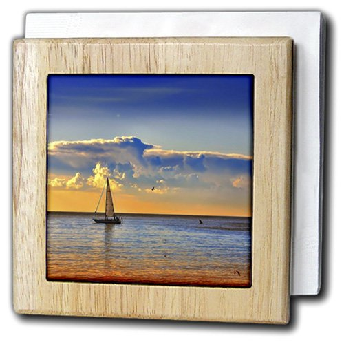 Florene - Sunset and Boat - Image of Sailboat And Birds Against Orangey Blue Sunset - 6 inch tile napkin holder (nh_223448_1)