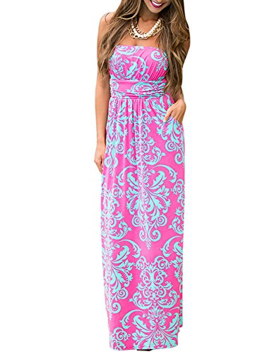 Leadingstar Women Beach Strapless Floral Print Graceful Backless Prom Long Dress(Asian S, Hot Pink) (Hot Pink Maxi Dress compare prices)