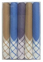 SOFIL Men's Dyed Yarn Cotton Handkerchief -Pack of 5 (S3N218)