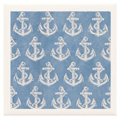 Hand Made Coasters [Set Of 4] - Stylish White Anchors On Blue From Our Modern Art Design Collection - A Stylish And Chic Way To Add A Unique Special Personal Touch To Your Decor - Great For A Gift - Crafted By Hand Of Ceramic Tile, Hand Made Paper And Spe front-422086