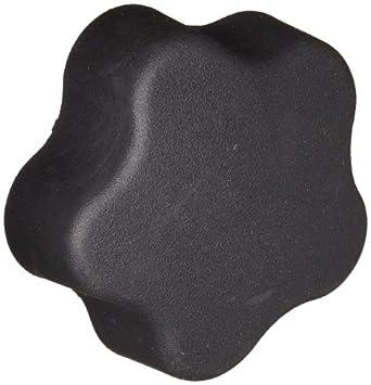 "DimcoGray Black Thermoplastic 5 Lobe Fluted Soft Feel Knob Female, Zinc Stud: 3/8-16"" Thread x 5/8"" Depth, 2-3/8"" Diameter x 1-5/8"" Height x 3/4"" Hub Dia x 11/16"" Hub Length (Pack of 10)"