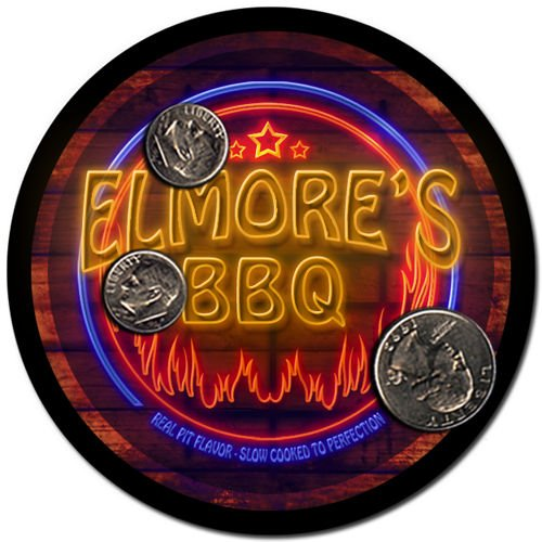 Elmore'S Barbeque Drink Coasters - 4 Pack