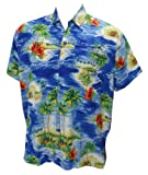 La Leela Blue Palm Tree Printed Hawaiian Shirt For Men XXL