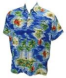 La Leela Blue Palm Tree Printed Hawaiian Shirt For Men XXL