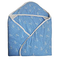 NammaBaby Hooded Teddy/Star Printed Baby Wrapper (blue)