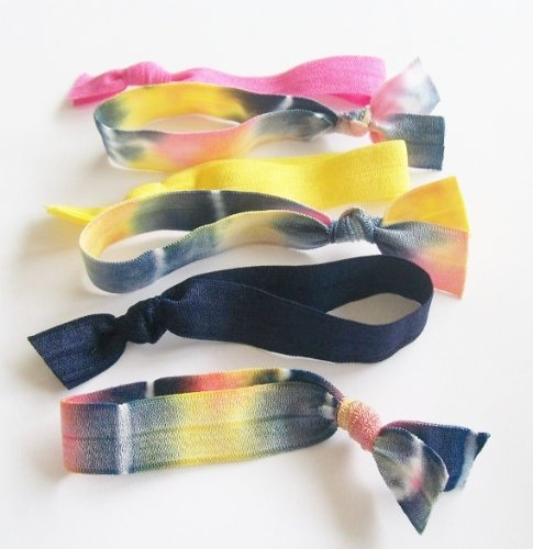 Lucky Girl Hair Ties Set of 6 Tie Dye Mix, AS