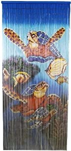 Bamboo Curtain w Painted Underwater Sea Turtle Design