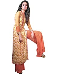 Exotic India Ivory And Orange Parallel Salwar Suit With Printed Flowers - Orange