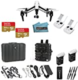 DJI Inspire 1 Aerial Quadcopter with 4k Video Camera with Controller with DJI Case + Backpack Adapter with Extra Pockets + 4 Extra Self Tightening Propellers + Koozam Micro Fiber Cloth (Dual Remote Bundle, 2-64GB Micro SD and 3.0 Reader w/ Case + 2 Extra 5700mAh Batteries)