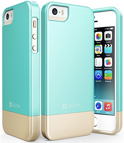 iPhone SE Case, Vena [iSlide][Two-Tone] Dock-Friendly Slim Fit Hard Case Cover for Apple iPhone SE / 5s / 5 (Teal/Champagne Gold) (Pretty Iphone 5s Cas compare prices)