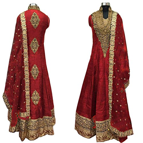 Caffoy-Cloth-Company-Womens-Red-Color-Bangalori-Silk-Designer-Embroidered-New-Arrive-Anarkali-Salwar-Suit-For-Wedding