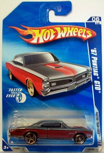Hot Wheels 2010-134 Red/Grey '67 Pontiac GTO Faster Than Ever 1:64 Scale