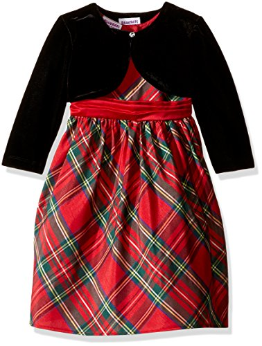Blueberi Boulevard Toddler Girls' Plaid Dress Withshrug, Red, 3T