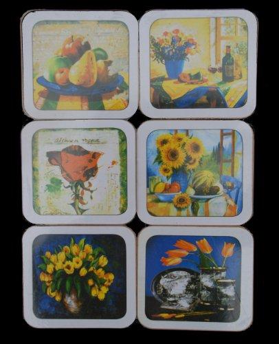 Untersetzer für Tassen und Gläser 6 Stück packung mit 6 verschiedenen Blumendesigns