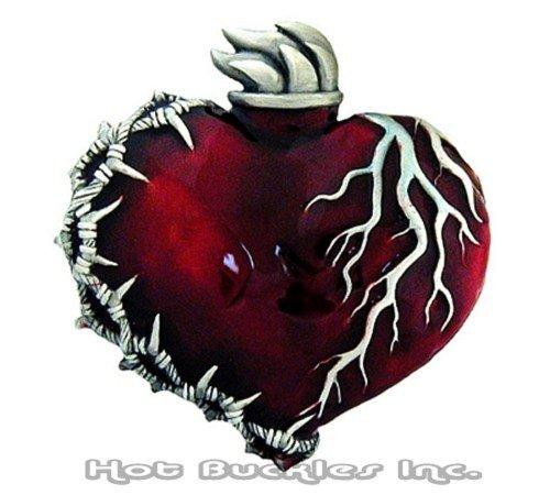 Unisex Adult Barbwire Heart Enameled Buckle