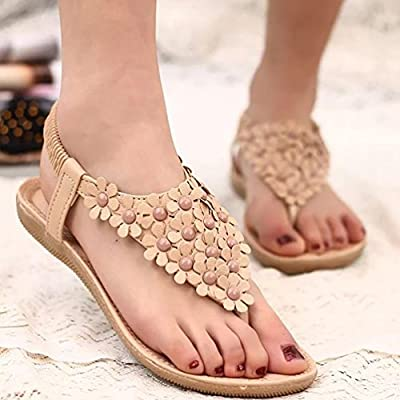 YOUJIA Women Bohemia Flower Beads Flip Shoes Beach Flat Sandals