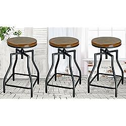 eHemco 24-29'' Adjustable Metal Barstool with Wood Veneer Seat (3)