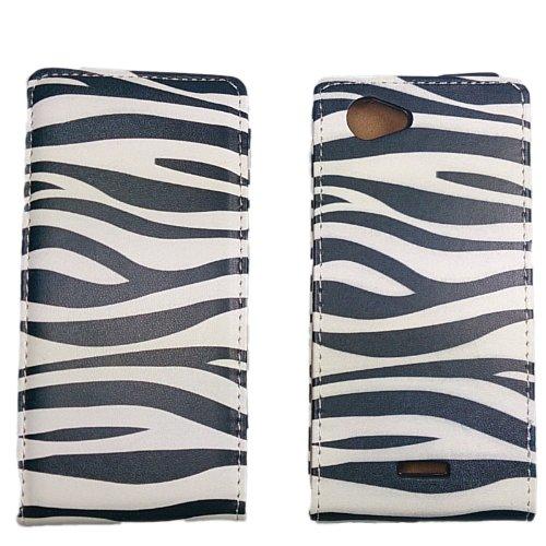 handy-point Zebra Klapphülle Flip Case für Sony Xperia J, ST26i, Schwarz, Weiss, Tasche, Schutzhülle, Tasche, Klapptasche, Handyhülle, Handyschale, Handytasche