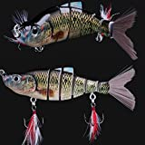 9 Jointed Hard Fishing Lure Swimbait Life-like Artificial Bait & Feather Hook
