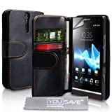 Black PU Leather Wallet Case Cover For The Sony Ericsson Xperia S With Screen Protector Film And Grey Micro-Fibre Polishing Clothby Yousave Accessories