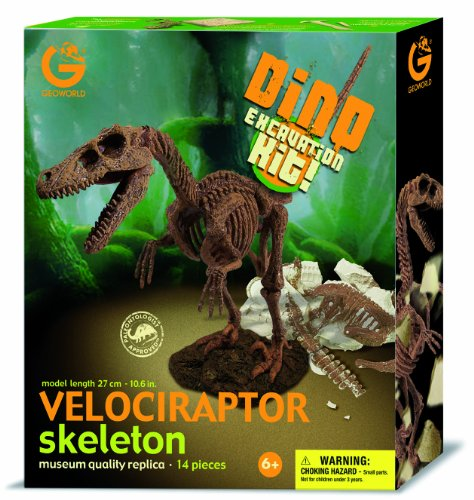 Geo World CL119K Dino Excavation Kit Velociraptor Skeleton