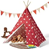 Kids Teepee Play Tent 100% cotton Canvas indoor outdoor Playhouse with Case Stars by MegaDeal