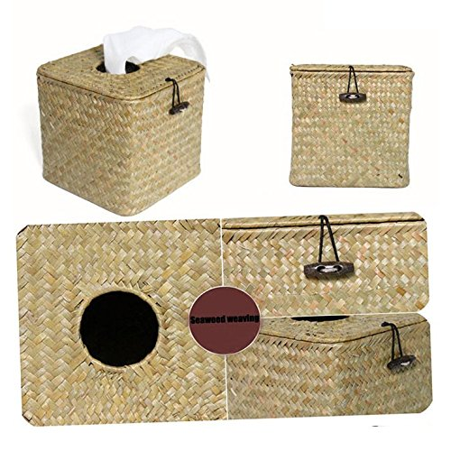 Best-mall Natural Pollution-free Seaweed Hand Knitting Square Removable Tissue Box Cover (primary)