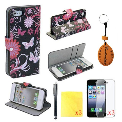8IN1 Black Back Butterfly PU Leather Wallet Cases Protective Skin for iphone 5 for iphone 5s Flip Folio Case Stand Holder+touch Screen Pen +3* Screen Protector +3* Cleaning Cloth