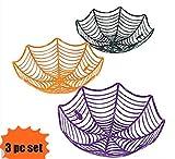 Fun Express Plastic Spider Web Spiderweb Halloween Candy Bowls - 3 Piece Set