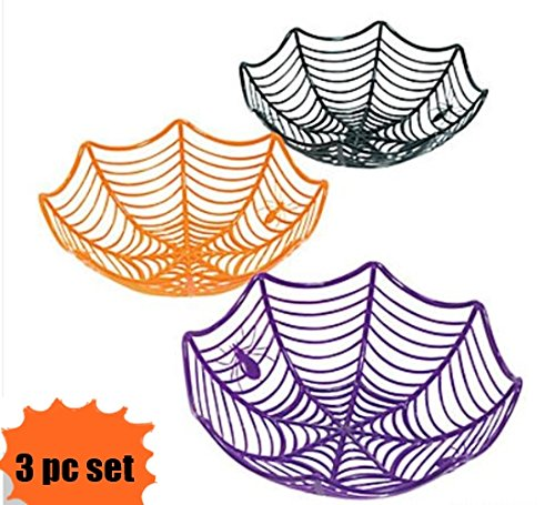 Set of 3 Plastic Spider Web Bowls - Halloween Candy Bowls