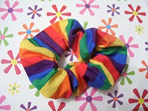 Rainbow Ponytail Holder Wrap Hair Scrunchie by Serina's Bow Tiq