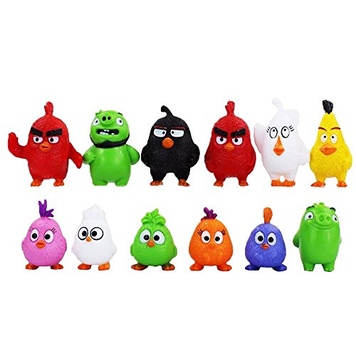 12 pcs/set Cartoon Birds Action Figures For Children Gift (Angry Bird Mashems Space compare prices)