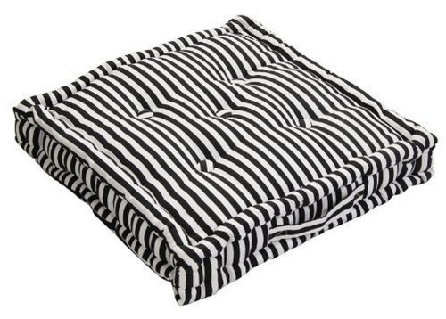 Homescapes - Pin Stripe Black - 100% Cotton - Floor Cushion - Black and White - 40 x 40 x 10 cm Square - Indoor - Garden - Dining Chair Booster - Seat Pad Cushion.