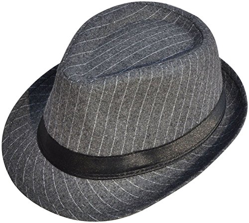 [Simplicity Cool Pinstripe Trilby Fedora Hat with Balck Band, Grey] (Agent Carter Halloween Costume)