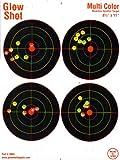 25 Pack - 4 Bullseye - Reactive Splatter Targets - Tagboard and Adhesive Versions- GlowShot - Multi Color - Gun and Rifle Targets