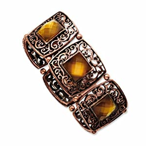 Burnished Copper-tone Brown Epoxy Stretch Bracelet