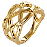 Goldtone Criss Cross Cut Out Ring