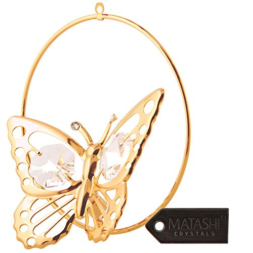 24K Gold Plated Butterfly in a Circle Crystal Studded Hanging Ornament by Matashi (Crystal Butterfly Ornament compare prices)