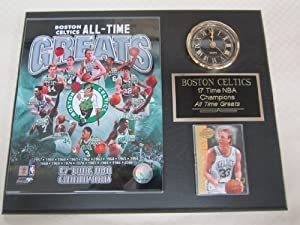 Boston Celtics All Time Greats Collectors Clock Plaque w 8x10 Photo and Card by Boston