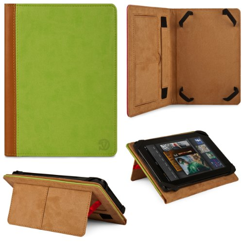 Green - Brown VG Elegant Book Cover Portfolio Jacket Carrying Case with Built In Pull Out Stand for HP ElitePad 900 10.1-inch Tablet at Electronic-Readers.com