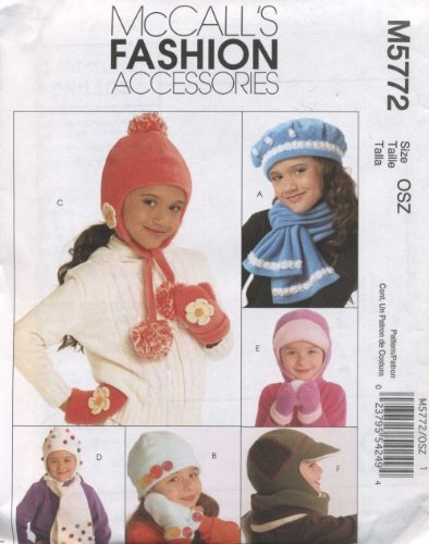 McCall's Patterns M5772 Children's/Boys'/Girls' Hats, Scarves and Mittens, All Sizes - 1