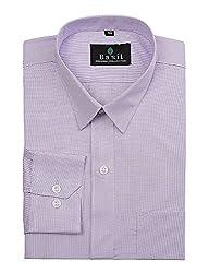 Basil Men's Poly Cotton Formal Shirt (BA380PLC44FSF-40, Purple, 40)