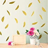 Rurah Feather Wall Decal Feather Mural Wall Stickers Vinyl Nursery Kids Room Decals Decor Removable,Gold