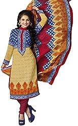 The Desi Attire Women's Crepe Unsticthed Dress Material (109_Cream_42)